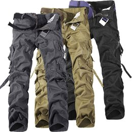 Wholesale cargo combat work trousers - HOT 2018 Men's Cotton Cool Casual Military Army Cargo Camo Combat Work Pants Trousers R48 salebags