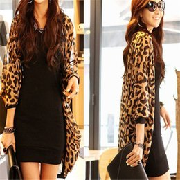Wholesale Neck Leopard Chiffon - Women Coat Leopard Print Batwing Sleeve Coat Cape Tunic Chiffon Cardigan Lady Women Tops Shawl Partner