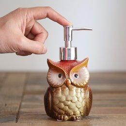 Wholesale Vintage Press - Ceramic Owl shape Bathroom supplies Press the bottle crafts vintage Storage Holder Creative Christmas home Decor simple 4 style wholesale
