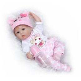 Wholesale Silicone Realistic Baby Dolls - Wholesale- Lovely 17 Inch 42cm Lifelike Soft Silicone Reborn Baby Doll Realistic Looking Baby Girl Newborn Toddler Xmas Gift