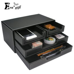Wholesale Office File Box Organizer - High-grade PU leather box office desktop file cabinet four drawer-style Stationery organizer container multi-functional casket q171126