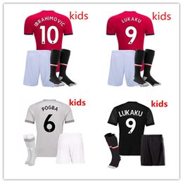 Wholesale Man United Top - new TOP QUALITY 2017 2018 Kids kit+socks+patch black soccer jersey 17 18 youth MAN UNiTed IBRAHIMOVIC POGBA ROONEY KIDS jersey free shipping
