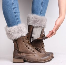 Wholesale Womens Warm Boots - Wholesale- Womens Winter Warm Crochet Knit Fur Trim Leg Warmers Cuffs Toppers Boot Socks