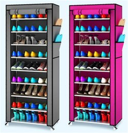 Wholesale Beverage Racks - Dustproof Shoe Rack Multi Function Simple And Easy Storage Shoes Cabinet Non Woven Ten Layer Assembly Storage Racks Durable 30jj C R