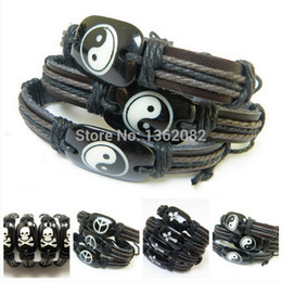 Wholesale Hand Carved Skull - Wholesale-6pcs Hand Woven Imitation Yak Bone Resin Carved Wolf Head Skull Cross Peace Tai Chi Yin and Yang Leather Bracelets MB52