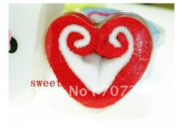 Wholesale Towel Cake Heart Shape - Hot sell!!Love heart shape cake towels  washcloth Wholesale creative wedding gift Birthday gift+free shipping order<$15 no tracking