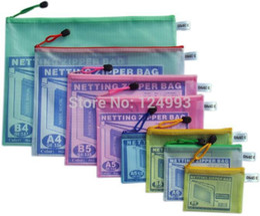 Wholesale A5 File - Wholesale-Office paper document zipper bag pvc netting file stand up pouch coin purse mini storage bill check case B5 B8 B6 A3 A5 B4 A4 A6
