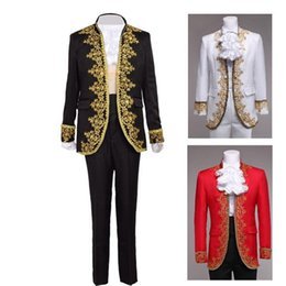 Wholesale Halloween Prince Costume - Royal European Court Fancy Outfit Vintage Rococo Baroque Prince Tops+Pants Cosplay Costume for Men White Black Red