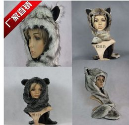 Wholesale Hat Scarf Conjoined Sets - Wholesale-2015 New Winter Women Fashion Faux Fur Fox Head Scarf, Hat & Glove Conjoined Sets Christmas Gift