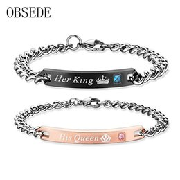 Wholesale Unique Couplings - OBSEDE Fashion Unique Gifts for Lovers Her King His Queen Stainless Steel Couple Bracelets for Women Men Jewelry with Crystal