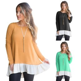 button neck shirt NZ - Elegant women shirt dress for autumn and winter wear lady casual shirts 2 color panelled back in slip with buttons long sleeve OL-8801