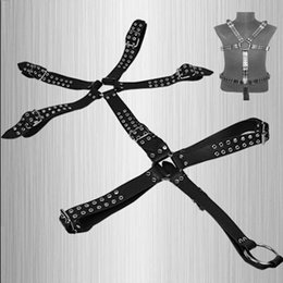 Wholesale Leather Full Body Harness - Male Full Body Harness With Penis Rings Men Slave Body Leather Fetish SM Bondage Systemic Set