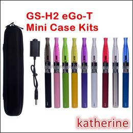 Wholesale Ego Kit Mini Usb - GS H2 eGo-T Kits 650mah 900mah 1100mah Battery Original GS-H2 Atomizers USB in a Mini Zipper Case GS-H2 Various Colors E Cigarette KitsKits