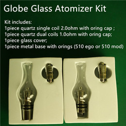 Wholesale Dry Herb Bulbs - Globe glass atomizer kit with quartz dual coils Glass Globe Bulb wax atomizer tank dry herb globe glass vaporizer kit with two ceramic coil