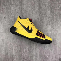 Wholesale New Table Tops - 2017 New Kyrie 3 Mamba Mentality Bruce Lee Men Basketball Shoes Sneakers Yellow Black Baskertball Shoes Sports Shoes Top Quality Kobe Logo