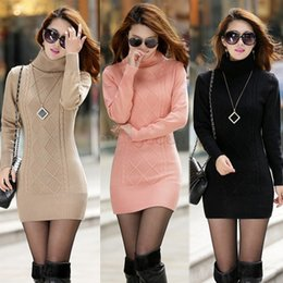 Wholesale Black Knit Sweater Dress - New Fashion High Collar Knitted Sweater Women Pullover Turtleneck Winter Sweater Dress High Quality 4 Colors SV11 SV011049