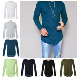 Wholesale T Shirt Slim Fit Elastic - Plus Size Fashion Casual Slim Elastic Soft Long Sleeve Men T Shirts Fit Tops Tee Men Long Sleeve Summer Tops Slim Tee KKA3195