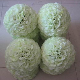 Wholesale Flower Balls For Centerpieces - 50 cm Huge Milk White Beautiful Artificial Encryption Rose Silk Flower Kissing Balls For Wedding Party Centerpieces Decor Free Shipping