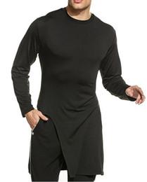 Wholesale Hip High Slit - Hot! Men's Long Sleeve Soft Elasticity Long Hem Pullover T-Shirt Summer Side High Slit Long T shirt men hip hop street wear