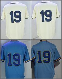 Wholesale 1913 Baseball - 19 Robin Yount Jersey 1913 1948 Turn Back Throwback White Stripes Light Blue Yellow Cream Cool Base Retro Jerseys