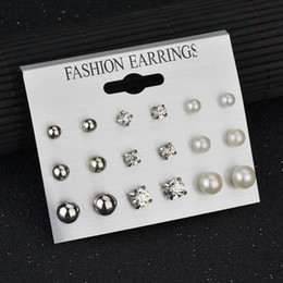 Wholesale Silver Jewlery Sets - 2017 New Fashion Crystal Stud Earrings Set Best Gift for Women Female Simulated Pearl Silver Color Ball Earrings Gilrs Jewlery Piercing