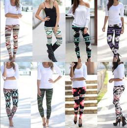 Wholesale Colorful Leggings Wholesale - Women's Colorful Print Leggings Stretchy Casual Vintage Slim Pencil Pants Casual Skinny Legging Women Fashion Trouser Leggings KKA3275