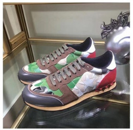 Wholesale Mosaic Mesh - 2017 Free Shipping new Mosaic color spike leather men Designer fashion luxury brand V luxury trainers camouflage man casual shoe