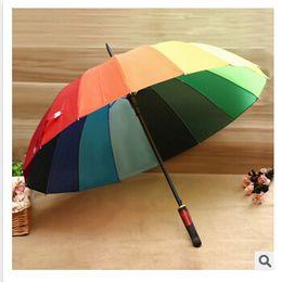 Wholesale Iron 55 - Rainbow Umbrella 2015 High Quality 16K Golf Umbrella Automatic Long-handle Umbrella Sunny Rainy Pongee Rainbow Adult Color Umbrella m00722