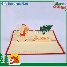 Wholesale Kirigami Christmas Tree - Free Shipping 5pcs Lot Christmas 3D Pop Up Cards Santa Claus + Deer + Christmas Tree Handmade Kirigami & Origami Greeting Cards
