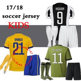 Wholesale Cotton Kit - 17 18 home Soccer jersey 2017 2018 kids kit Bernardeschi DYBALA HIGUAIN Away third 3RD Football shirt D. Costa Pjanic Chiellini BOYS