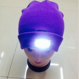 Wholesale Cap Led Glow Lights - LED winter Knitted hat LED Glowing Light camp warm Beanie Skull caps climbing outdoor night flashlight Knitting hats cap Factory price New