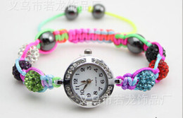 Wholesale Crystal Ball Bracelet Watch - Wholesale-2015 Fashion Crystal Jewelry 10mm Crystal AB Clay Disco Ball Crystal Bracelet Watch Bracelet Bangle Mix Colors Free Shipping