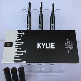 Wholesale eyebrow pencils - Kylie Jenner Eye Brow Pencil 2 in 1 Waterproof Eyebrow Pencil with Brush Eyeliner SOFT BROWN GRAY DARK BROWN