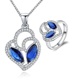 Wholesale Girls Sapphire Ring - New Elegant 925 Sterling Silver Sparkly Sapphire Neclace Rings AAA Zircon Jewelry Set S761 Women Party Jewelry