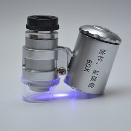 Wholesale lamp magnifier led - Mini Microscope Pocket 60x Magnifier Handheld Jeweler LED Lamp Light Loupe - X60