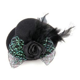 Wholesale mini party top hats - Wholesale-Free Shipping Arrive Feather Hair Clip Flower Bow Black Mini Top Hat Party Lolita Cosplay Goth