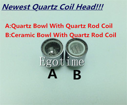 Wholesale Glass Tube Vases - 2016 Newest Dual Quartz Rod Coil wax dry herb coil Quartz Bowl Tube for cannon vase bowling glass globe atomizer wax dry herb Atomizer Ecigs