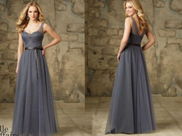 Wholesale Long Charcoal Dress - Charcoal Bridesmaid Dresses Sweetheart Two Straps Sleeveless Fomal Party Dress Pleated Removable Satin Tie Sash Zipper Back Floor Length