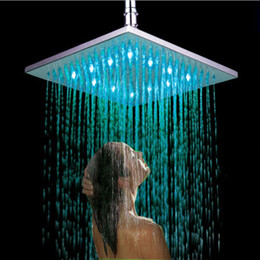 "Wholesale Large Ceiling Shower Heads - Bathroom 10"" Large Ceiling Light 250*250 mm Colorful LED Shower Head Shiny Finish Rainfall Super Shower Head"