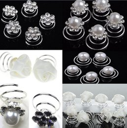 Wholesale White Rose Wedding Hair Clips - 30pcs Lot Wedding Bridal Flaxen Hair Braided Hair Pearl Crystal Flower Hair Twists Spins Pin White Rose Hair Clip For Women