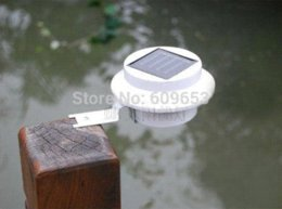 Wholesale Light Emitted Diodes - Solar Powered LED Rechargeable Solar Light Lawn Fence Wall lamp 3 LEDs Fence Gutter Garden Solar Lamp Light emitting diode lamp