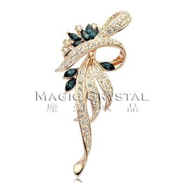 Wholesale Italina Brooch - Fashion Jewelry Brooches Free Shipping Italina Rigant fashion jewelry wholesale 18k Rose gold plated Austrian Crystal Brooch Fashion Gift