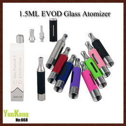 Wholesale Large Tank Clearomizer - EVOD Glass Atomizer Bottom Dual coil Glass atomizer Clearomizer 1.5ml e cig tanks Large vapo for 510 eGo seriesThread DHL(0203147)