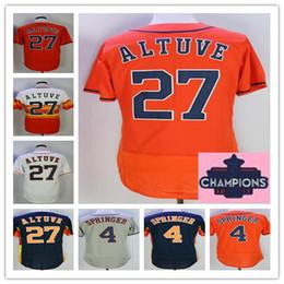 Wholesale Tops Short Men - Top Qoality 2017 Champions Patch 27 Jose Altuve 4Jose Altuve Baseball Jersey Free shipping