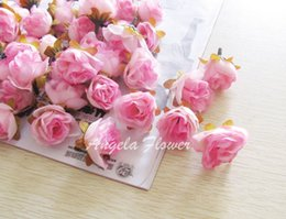 Wholesale Silk Purple Rose Flower Heads - DIY FLOWER BALL Artificial Silk Camellia Tea Rose for Home and Wedding Decoration Simulation Flowers Heads Decor 100pcs lot