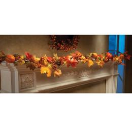 Trasporto libero 1.8 m ha condotto la zucca foglie di acero rattan fiori artificiali decorazione della festa a casa fai da te craft 1 pz da