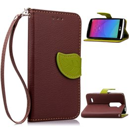 Wholesale Lg G2 Cover Back - Leaf Wallet Leather Case TPU back Cover with hand strap For LG G2 G3 miini G4 stylus Pro L70 90 Leon