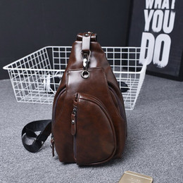 Wholesale Browning Leather Sling - Wholesale-Men's Fashion Leather Chest Bag Sling Bag Crossbody Shoulder Bags Outdoor Sport Hiking Biking Bag with Exterior Zipper Pockets