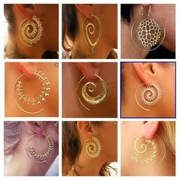 Wholesale Piercing Spirals - New Vintage Tribal Indian Spiral Hoop Earrings For Women Charming Fake Ear Piercing Jewelry Gold