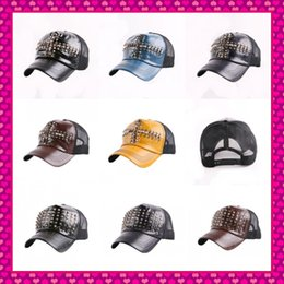 Wholesale Wholesale Cap Studs - Wholesale-Hot Wholesale new design summer women men leather baseball caps with studs rivets fashion punk unisex hip hop snapback cap hats